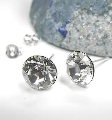 Neu Titan Ohrstecker 8mm Swarovski Steine Crystal/klar/kristallklar Ohrringe