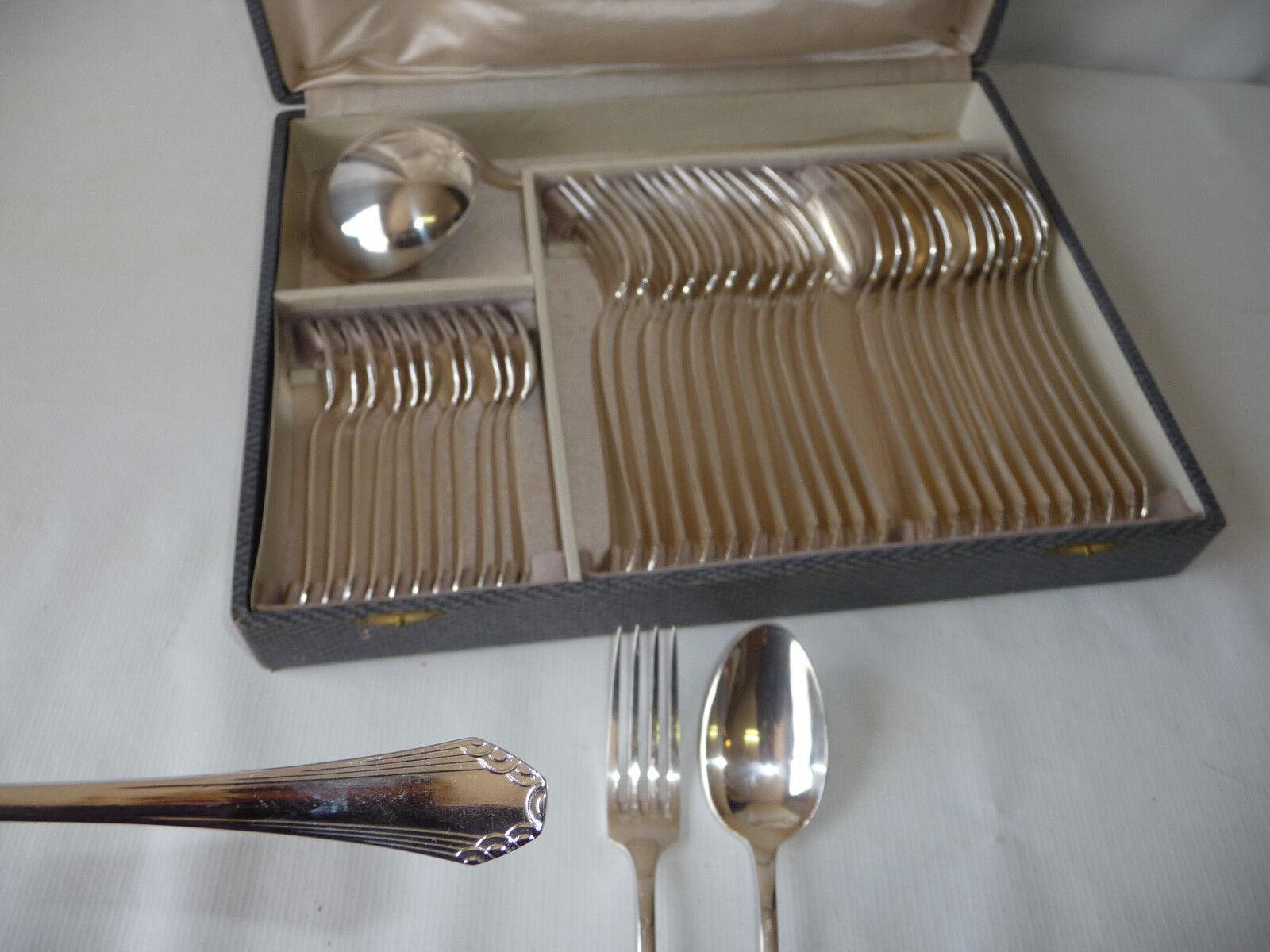 Ménagère métal argenté ORBRILLE Art Déco Couvert de table 37p.