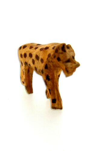 Handmade Hand-carved Wooden Leopard Figure Ornament Vintage New 4.5cm