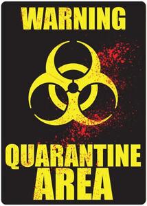 Metal Tin Sign warning quarantine area Decor Bar Pub Home Vintage Retro