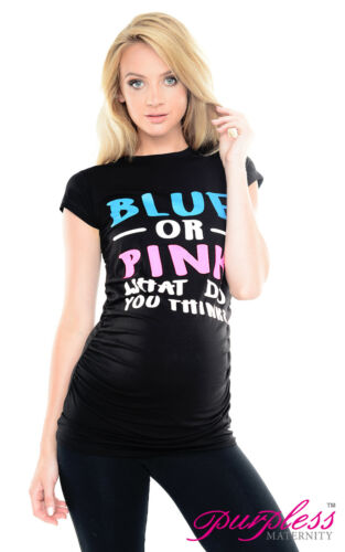 Purpless Maternity Blue or Pink Slogan Cotton Printed Pregnancy T-shirt 2014