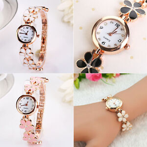 Fashion-Women-Girls-Daisies-Flower-Stainless-Steel-Bracelet-Dress-Wrist-Watch