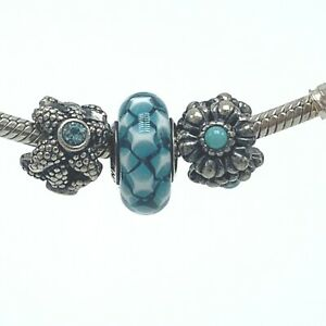 3-Authentic-Pandora-Murano-925-Star-Fish-Flower-Turquoise-Glass-Bead-Charms