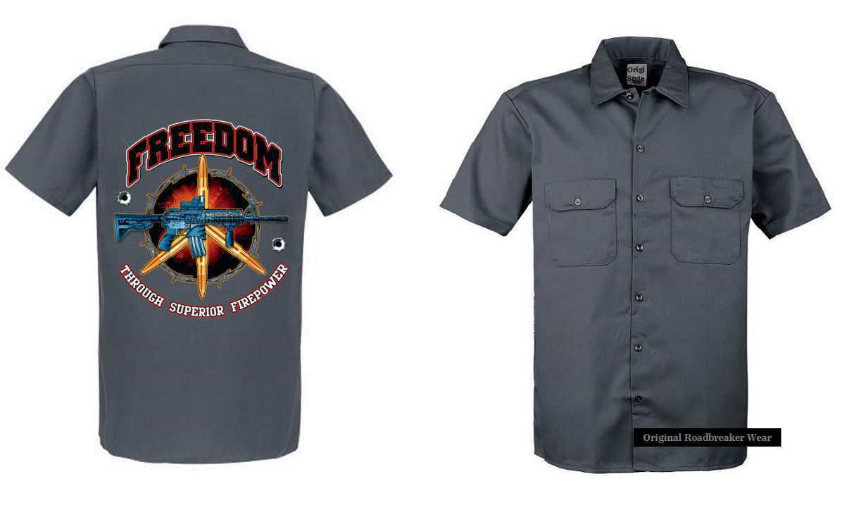 Worker Shirt grey Vintage HD Biker Chopper& OldSchoolmotiv Modell Freedom