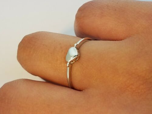 4 mm Heart Engagement Wedding Fine Ring Plain Puffed 14K Solid White Gold Band