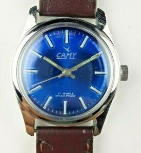 VINTAGE-CAMY-17J-COBALT-BLUE-MEN-039-S-WINDING-SWISS-WRIST-WATCH-MN