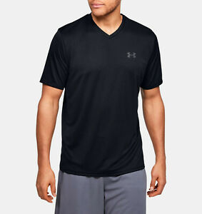 Under-Armour-Men-039-s-UA-Velocity-V-neck-Short-Sleeve-Black-Pitch-Gray-001-M