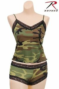28b8540be34b73 Womens Woodland Camo Lace Trim Camisole or Boy Shorts Lingerie ...