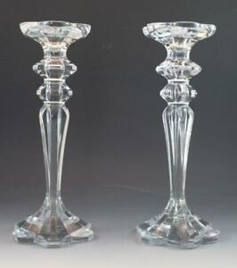 Vintage-Pair-Heavy-Clear-Baccarat-Style-Crystal-Glass-Candlestick-Holders