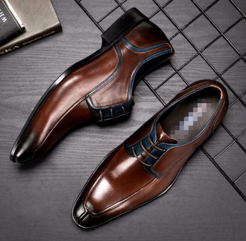 New Spring Mens Genuine Genuine Genuine Leather Retro Business Wedding Dress Derby shoes British 3dedc1