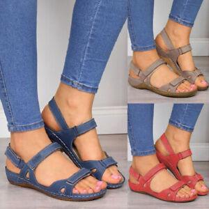 Details about Women Summer Leather Ankel Buckle Strap Flat Sandals Ladies Casual Open Toe Shoe