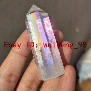 A-Natural-Titanium-Rainbow-Quartz-Obelisk-Wand-Crystal-Tower-Point-Healing-1pc