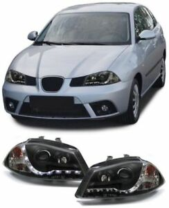 BLACK-SEAT-IBIZA-2002-2008-HEADLIGHTS-HEADLAMPS-WITH-DRL-DAYTIME-DRIVING-LIGHTS