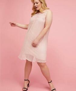 Lane-Bryant-Pleated-Dot-Mesh-Swing-Dress-14-16-18-20-22-24-26-28-Peach-2x-3x-4x