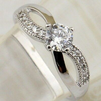 Size 4.5 5 6 Hot Elegant White CZ Gems Jewelry Gold Filled Woman Ring R2062