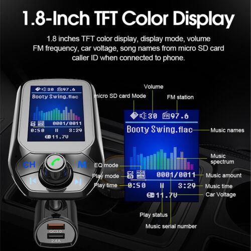 Handsfree Wireless Bluetooth Car Kit FM Transmitter Radio MP3 Player QC 3.0 New