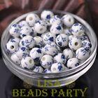 10pcs10mm Round Porcelain Ceramic Loose Spacer Beads Big Hole Deep Blue Flowers