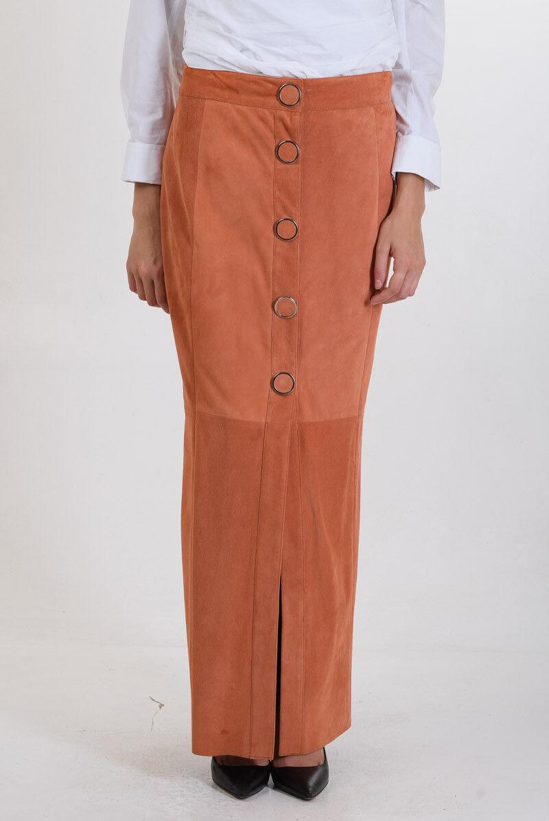 DROME New Woman orange Suede Leather High Waist Pencil Long Skirt Size S
