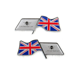 Pareja-emblemas-Mini-Union-Jack-cooper-s-one-countryman-clubman-R53-R56-badge