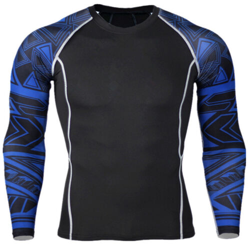 Men Compression Under Base Layer Thermal Muscle Shirts Long Sleeve Gym Top Sport