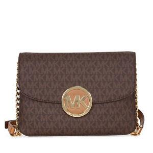 688346919216 Michael Kors Women MK Signature Fulton Flap Gusset Crossbody Shoulder Bag