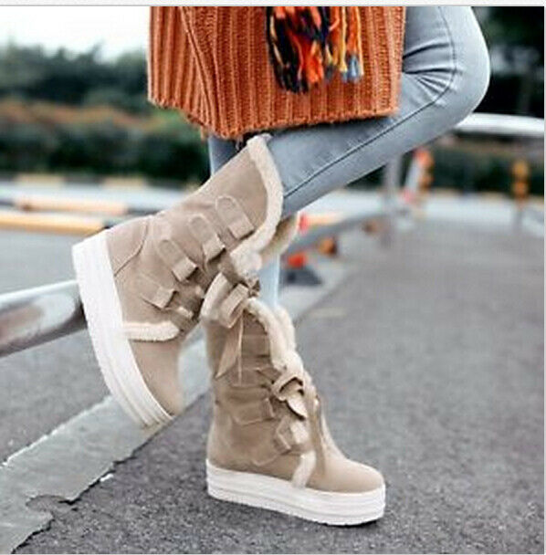 Women Winter Snow Fur Lined Platform Flange Mid Calf Boots Lace Up shoes Plus sz