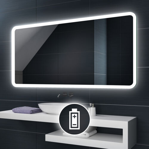 Battery Powered LED Illuminated Bathroom Mirror Battery Operated Custom Size L59