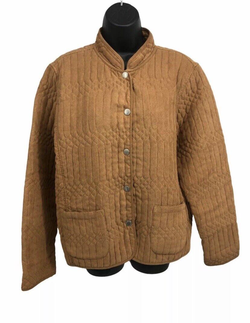 Blassport by Bill Blass Womens Jacket XL Barn Chore Coat Tan Quilted Chamois