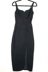 Vintage CUE Women's Sz 8 Lined Black Lace Waist Sleeveless Side Slit Maxi Dress