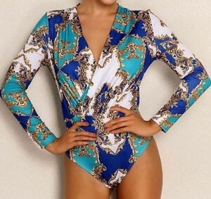 V-Neck-Long-Sleeve-Geometric-Print-Wrap-Bodysuit-Blouse-Top-Casual-Work