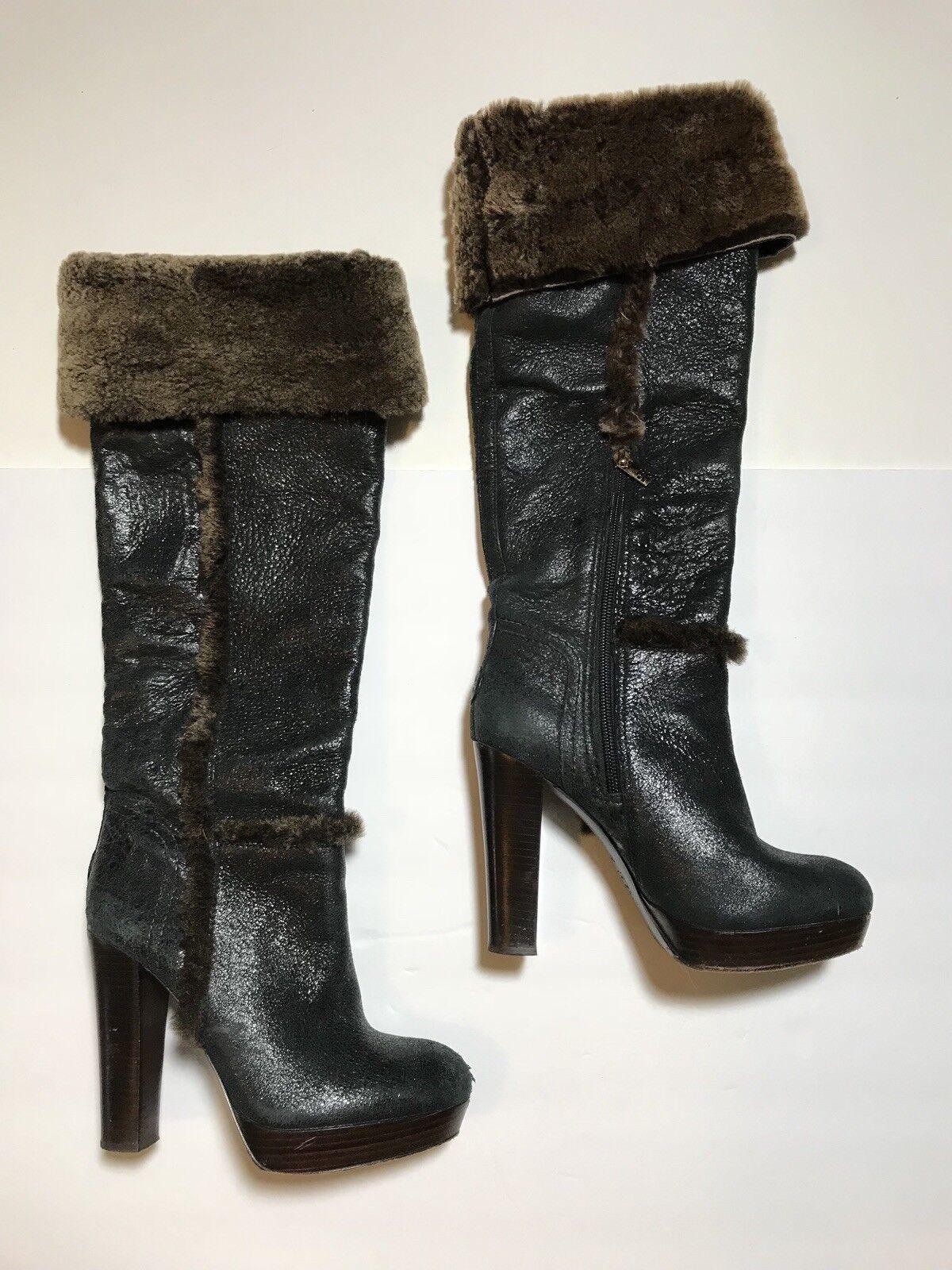 "RARE RARE RARE Tory Burch ""Sebastian"" Shearling Fur Letaher Tall Boots Heeled Size 7 51c821"