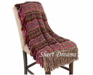 Kennebunk Home Santa Fe Spice Burgundy Pink Purple Taupe Handwoven Throw Blanket