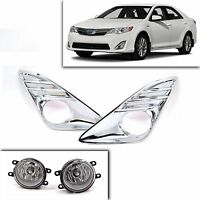 Chrome Bumper Fog Driving Lights W Cover Wiring Harness Pair For Toyota Camry