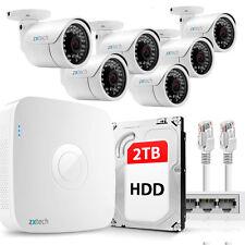 6 Full HD 2MP 1080P Outdoor IP Camera & 8 CH NVR PoE P2P UK CCTV Kit 2TB OE86DB2