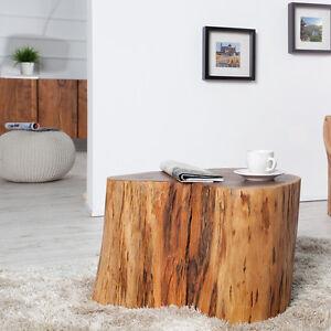 Designer Beistelltisch Pure Baumstamm Couchtisch Massivholz Akazie