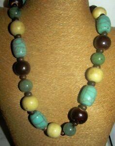 VTG-WOOD-Veined-GLASS-Beads-70s-80s-Boho-NECKLACE-23-034