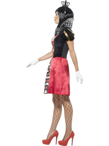 Alice In Wonderland Queen Of Hearts Ladies Fairytale Fancy Dress Sizes XS-XL