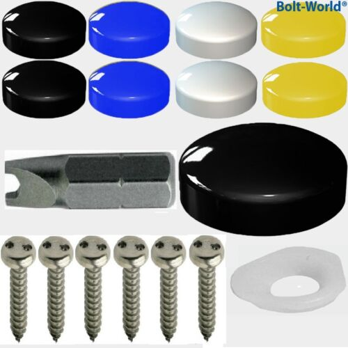 17 x NUMBER PLATE FIXING 2 PIN SECURITY SCREWS COVER KIT BLACK WHITE YELLOW CAPS