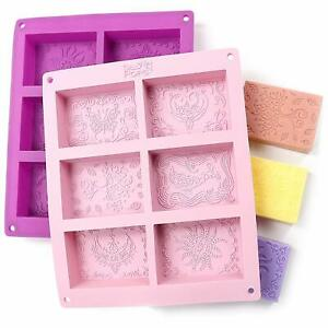 Rectangle-Silicone-Soap-Molds-Set-of-2-for-12-Cavities-Mixed-Patterns