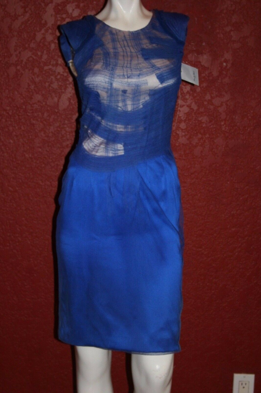 NWT RUE DE MAIL MAIL MAIL TEXTURED MESH DRESS ELECTRICAL blueE SIZE T34 357463