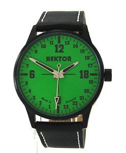 HEKTOR 24h Germany Herrenuhr 24 Stunden Quarz Uhrband Leder schwarz 42mm grün