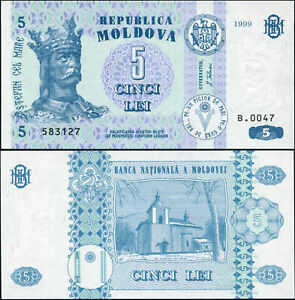 Moldavie 5 Lei. NEUF 1999 Billet de banque Cat# P.9c