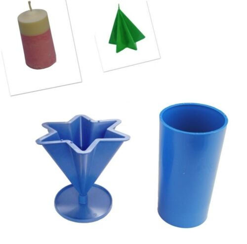 """S7596 Set x 2 4 1//2/"""" Pillar Candle Mould /& 6 Pointed Star Candle Mould UK Made"""