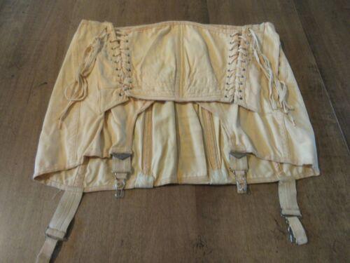 Antique Cotton Girdle Corset garter belt Lace up v