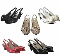 Womens Ladies peep toe Mid Heel party Prom Wedding Bridal Evening sandal shoes