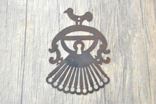 Rare Vtg Iron large handmade pierced design Door gate ESCUTCHEON Key hole Cover