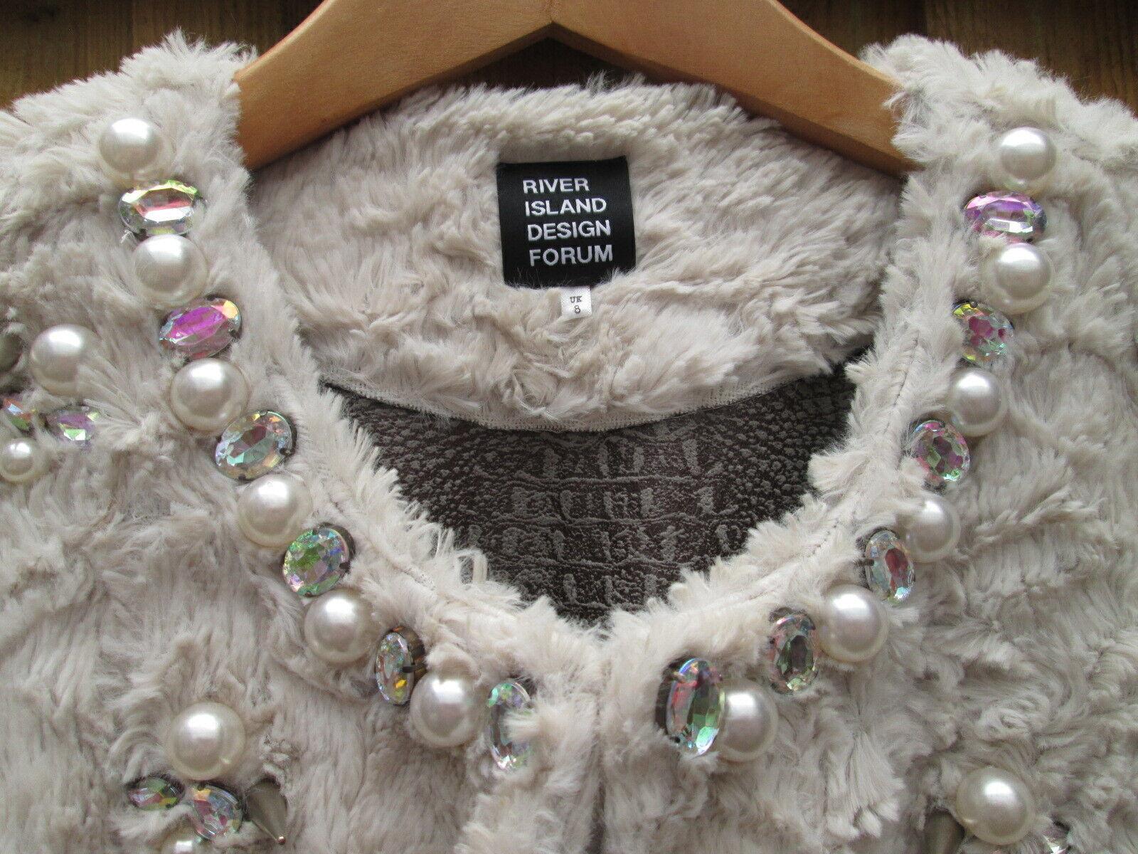 River Island DESIGNER FORUM faux fur coat studs diamantes size size size 8 UK (worn 1ce ) abf59a