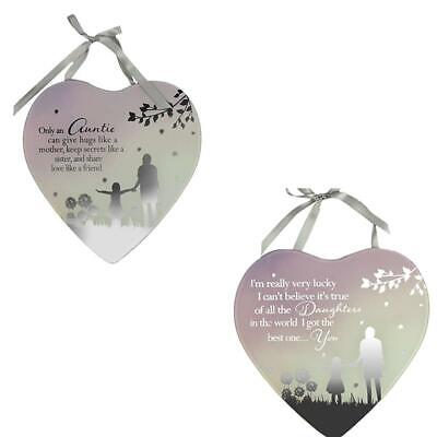 DAUGHTER@HEART SHAPED Glass Plaque@RED ROSE@LOVE@Gift@SPECIAL CHILDREN keepsake