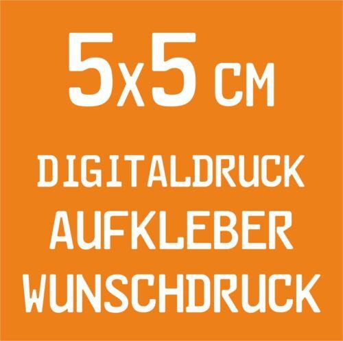 20 Stück 5x5cm Digitaldruck Aufkleber Wunschdruck drucken Folie Sticker Label