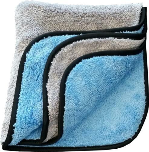 10 PACK Microfiber Towel Plush 700 GSM 16 X 16 Gray Blue Silk Lining T705GYB-10